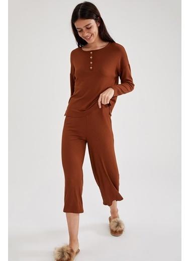 DeFacto Pijama Takım Kahve